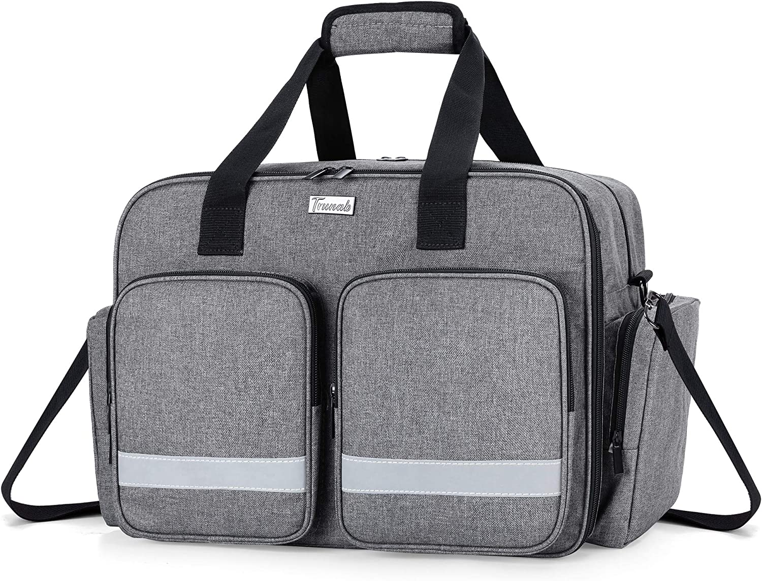 Trunab Medical Supplies Bag Empty, Home Health Nurse Bag with Multiple&Large Compartment, Medical Shoulder Bag for Physical Therapists, Paramedic, Health Care Professionals, Grey - Patented Design
