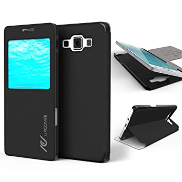 Urcover® Samsung Galaxy A5 2015 | View Case Funda Protectora | Cross Pattern en Negro | Carcasa Protección Completa Case Cover Smartphone Móvil ...