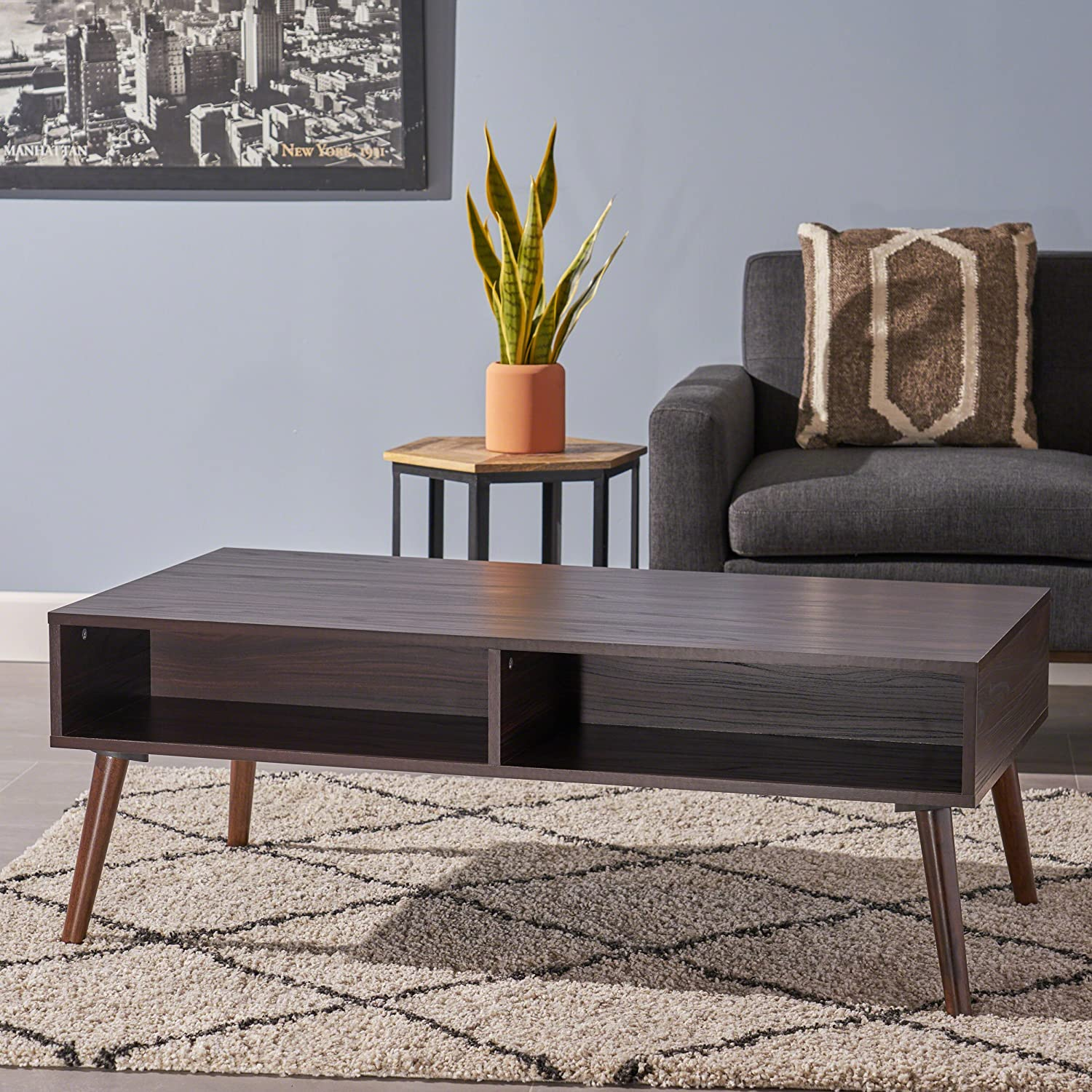 Great Deal Furniture 304399 Andy Mid Century Modern Fuax Wood Overlay Coffee Table, Dark Walnut