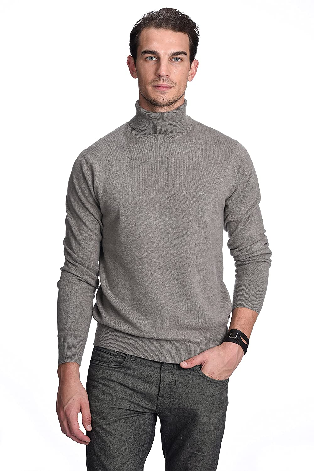 State Cashmere Men's 100% Pure Cashmere Turtleneck Long Sleeve Pullover Sweater ST3614
