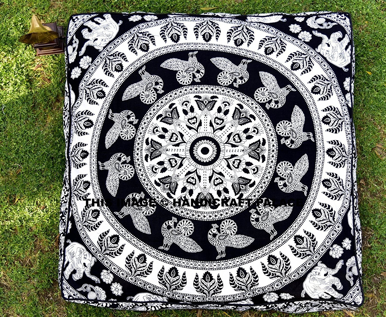 Black & White Elephant Mandala Floor Pillow Indian Tapestry Meditation Cushion Cover Square Ottoman Pouf Cover Outdoor Dog / Cat / Pet Bed 35''