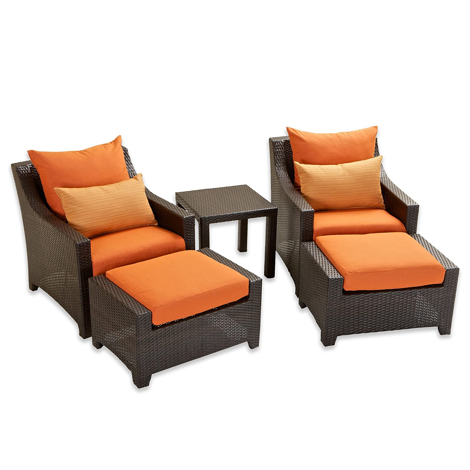 Amazon.com : RST Brands OP PECLB5 TKA K Deco 5pc Club Chair U0026 Ottoman Set    Tikka : Outdoor And Patio Furniture Sets : Garden U0026 Outdoor