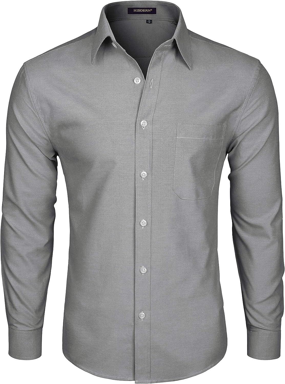 HISDERN Camicia Casual da Uomo a Maniche Lunghe Oxford Manica Lunga abbottonata da Uomo di