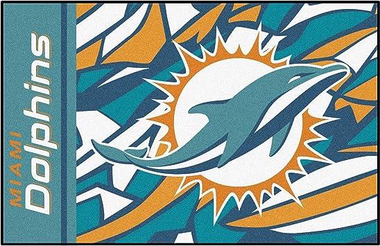 Amazon Com 19 X30 Nfl Miami Dolphins Area Rug Football Themed Room Entry Mat Sports Patterned Rectangle Rug Bathroom Livingroom Office Carpet Team Logo Print Fan Gift Athletic Spirit Non Slip Backing Nylon Furniture