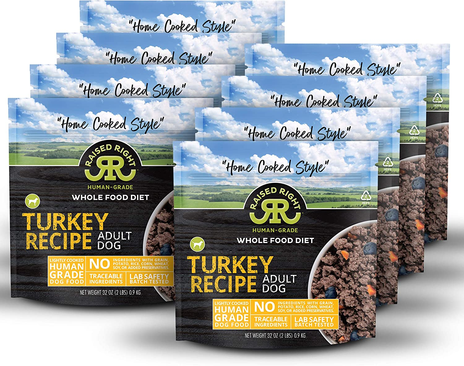 """Raised Right Turkey Human-Grade Frozen Dog Food, Low Carb """"Home Cooked Style"""" Whole Food Diet - 2 lb. Bag, 8 Count"""