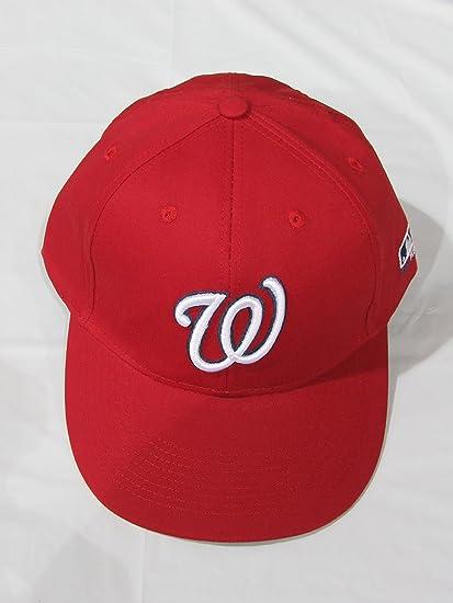 fc2c707983 Amazon.com   Washington Nationals ADULT Cap (NEW CF2 Visor Shaped Flat or  Curved) MLB Adjustable Replica Baseball Hat   Sports Fan Baseball Caps    Sports   ...