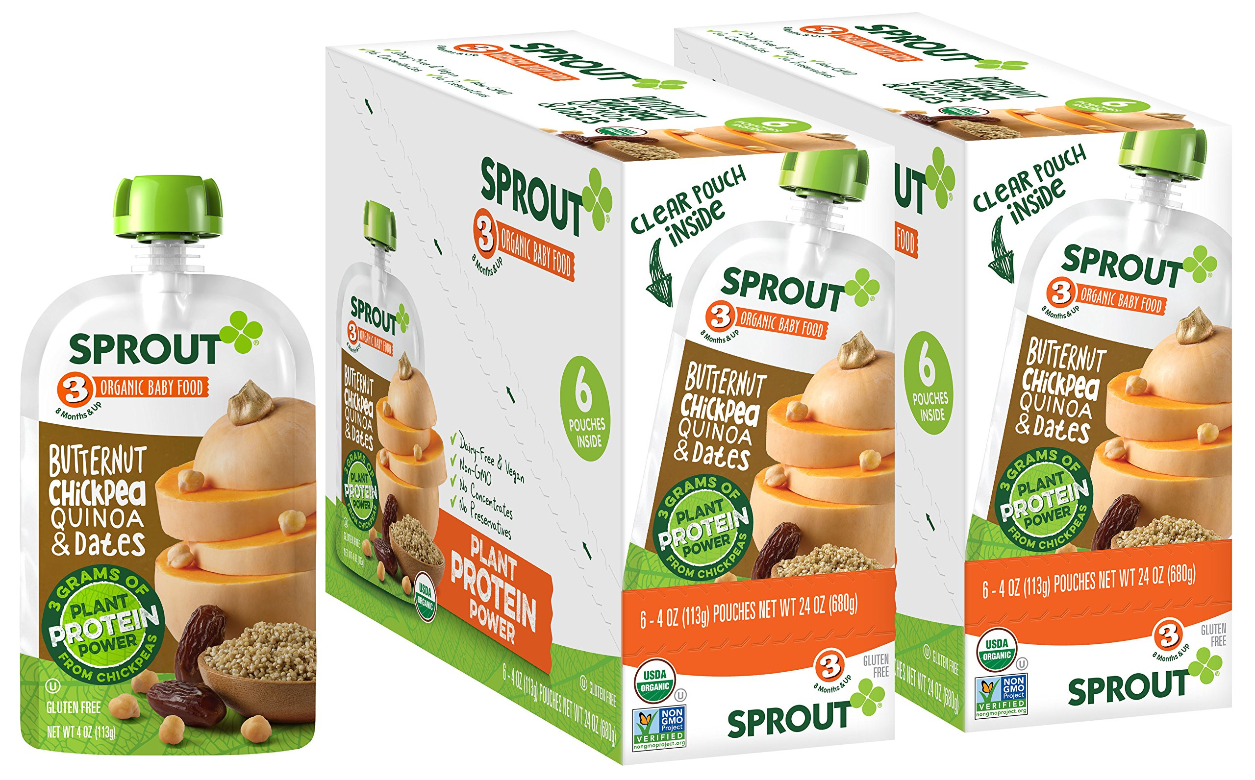 Sprout Organic Baby Food Pouches Stage 3 Sprout Baby Food, Butternut Chickpea Quinoa & Dates, 4 Ounce (Pack of 12); USDA Organic, Non-GMO, 3 Grams of Plant Powered Protein