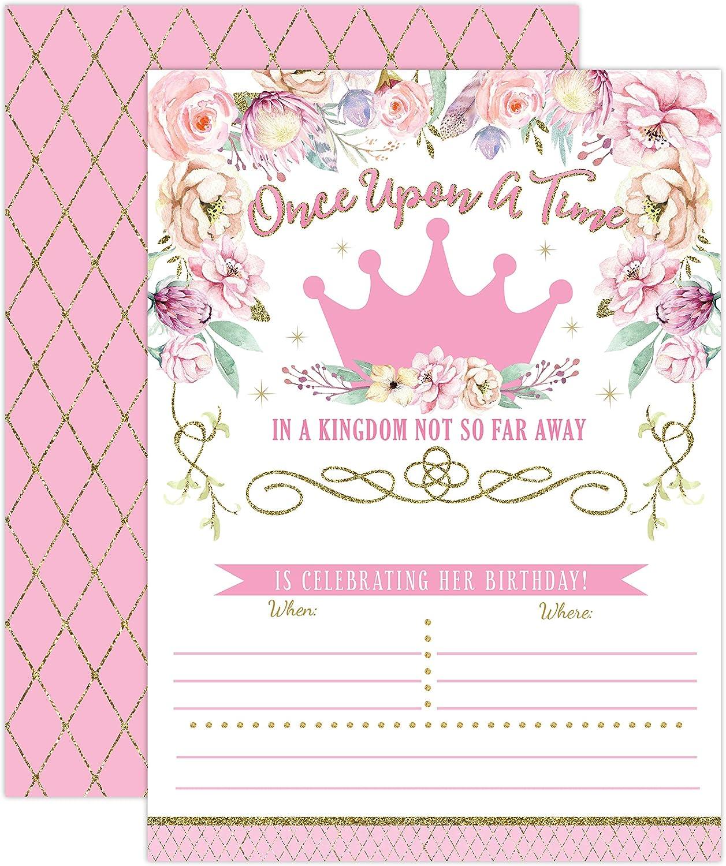Amazon.com: Invitaciones de cumpleaños de princesa ...