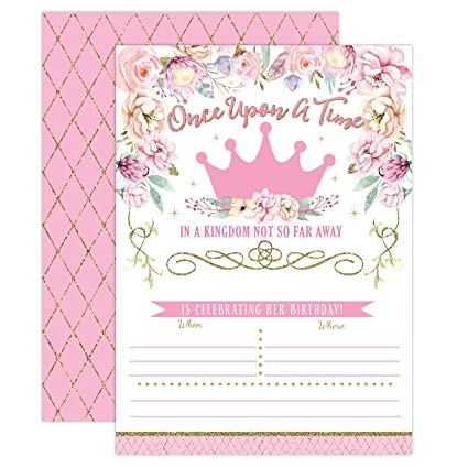Amazon Princess Birthday Invitations Girl First Party Invites Pink And Gold 1st 20 Fill In Style With Envelopes Toys