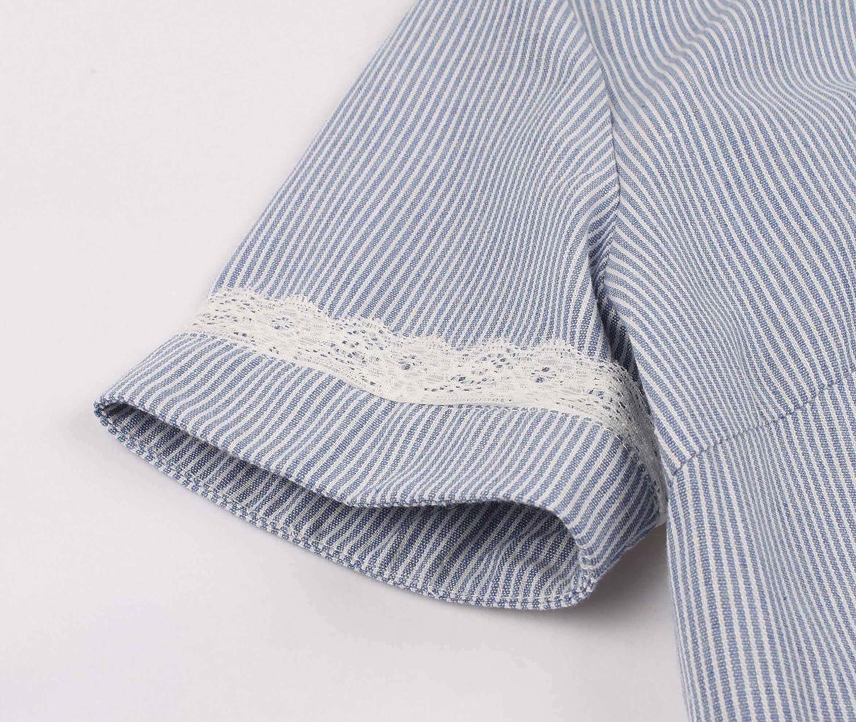 Wellwits Womens Lace Trim Stripes Short Sleeves Shirt Vintage Career Dress