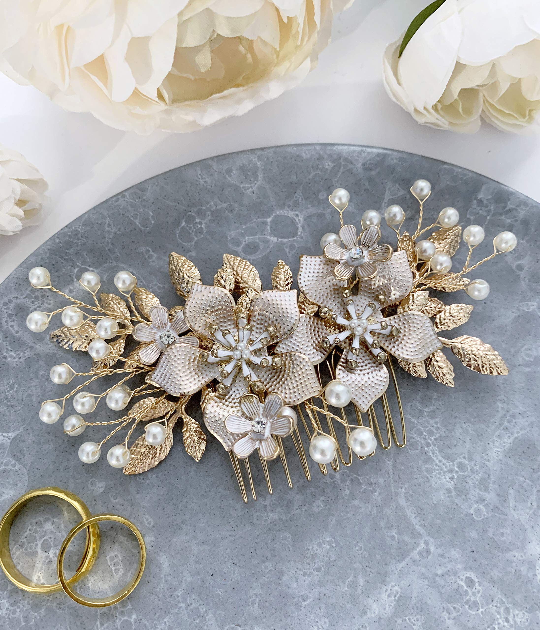 Wedding Hair Accessories Bridal Hair Comb Pearl and Gold Floral Hair Pin Headpiece - For Brides and Bridesmaids by The White Toolbox
