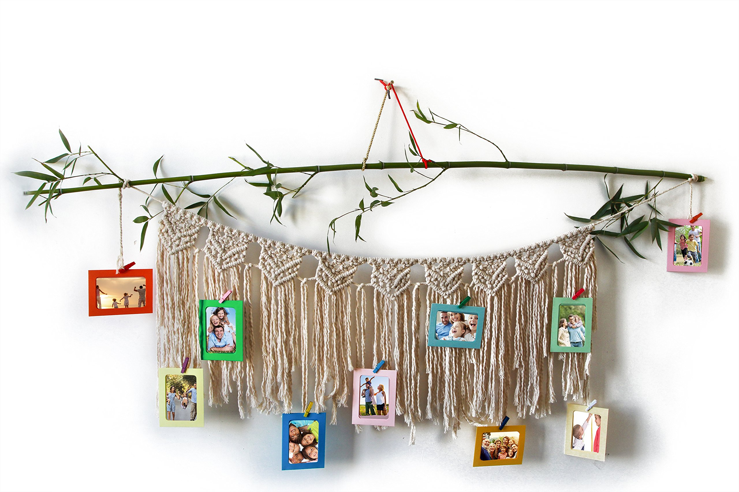Macrame Wall Hanging Woven Tapestry With Photo Frames Organizer | 10 Colorful Wood Clips with 5 Inch Picture Display | Decorative Bohemian Drape Wall Furnishing Memory Holder | Family Moment Decor