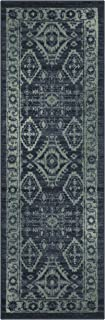 product image for Maples Rugs Georgina Traditional Runner Rug Non Slip Hallway Entry Carpet [Made in USA], 2 x 6, Navy Blue/Green
