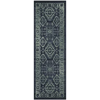 Maples Rugs Runner Rug - Georgina 2 x 6 Non Skid Hallway Carpet Entry Rugs Runners [Made in USA] for Kitchen and Entryway, 2' x 6', Navy Blue/Green