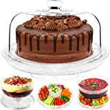 Andrew James 4 in 1 Cake Stand Turntable Display with Dome Lid & Plastic Dessert Serving Bowls for Punch Trifle Salad & Chip n Dip Platter for Snacks & Serving Dips - Host the Perfect World Cup Party!