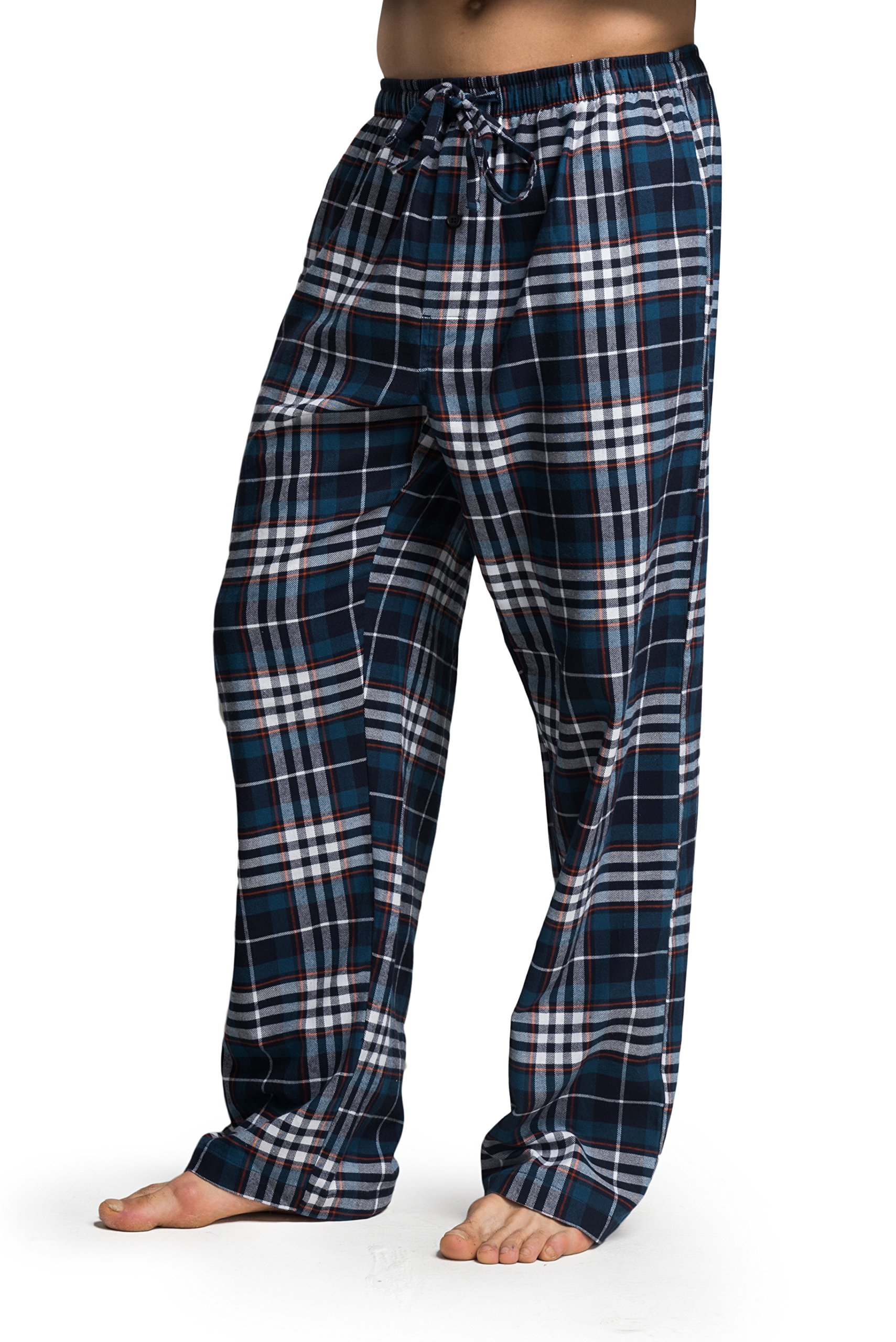 CYZ Men's 100% Cotton Super Soft Flannel Plaid Pajama Pants (L, F17014)