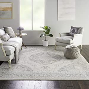 """Nourison Tranquil Persian Vintage Ivory/Grey Area Rug 8'10"""" X 11'10"""", 9' x 12"""