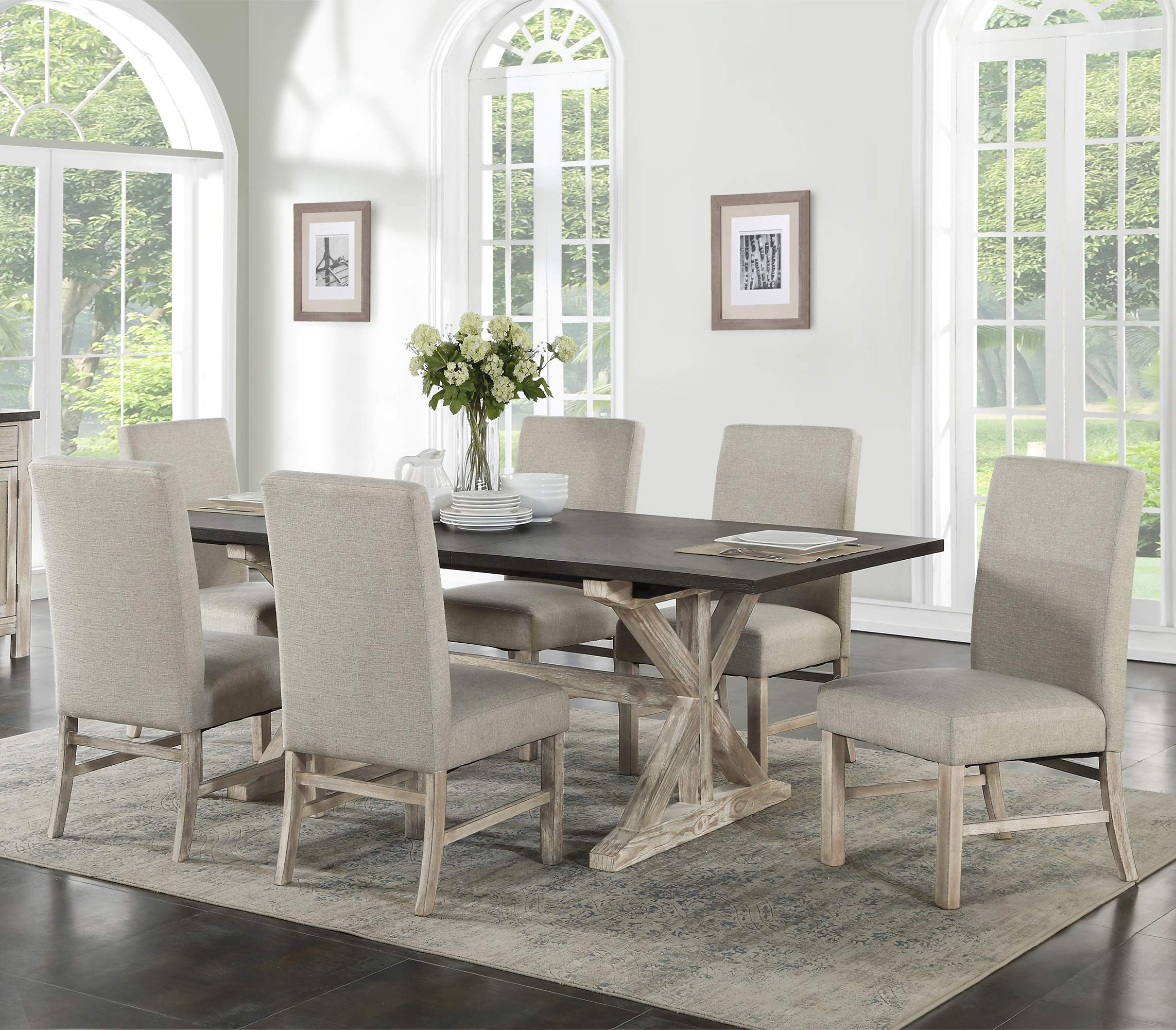 Cambridge Ellington 6 Fabric Chairs 7-Piece Dining Set with Expandable Trestle Table, Weathered white by CAMBRIDGE