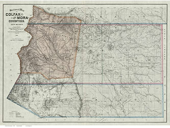 Amazon.com: Colfax & Mora Counties New Mexico 1889 - Old Wall Map ...