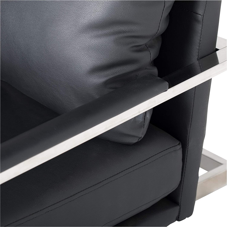 57.5 W x 32 D x 33 H Studio Designs Home Black Lintel Modern Bonded Leather Loveseat Chrome 72030