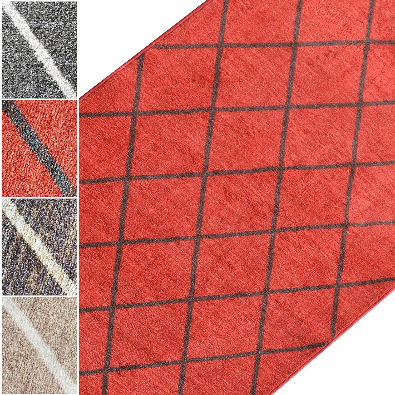 Teppichläufer Cosenza | Rauten Muster im Retro Look | viele Größen | moderner Teppich Läufer für Flur, Küche, Schlafzimmer | Niederflor Flurläufer, Küchenläufer | rot Breite
