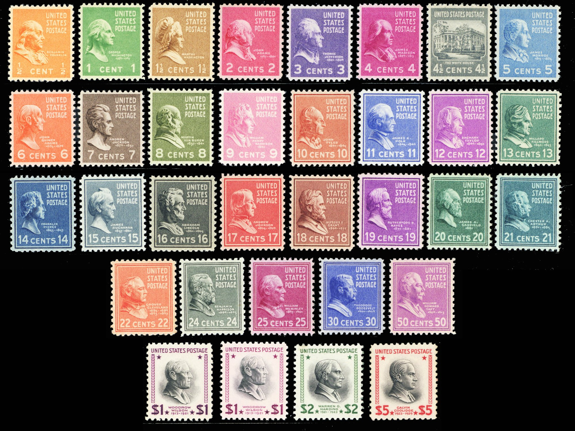 Presidential Issue of 1938 Complete Set of 33 Mint NH Stamps Scott 803-834 +832c By USPS