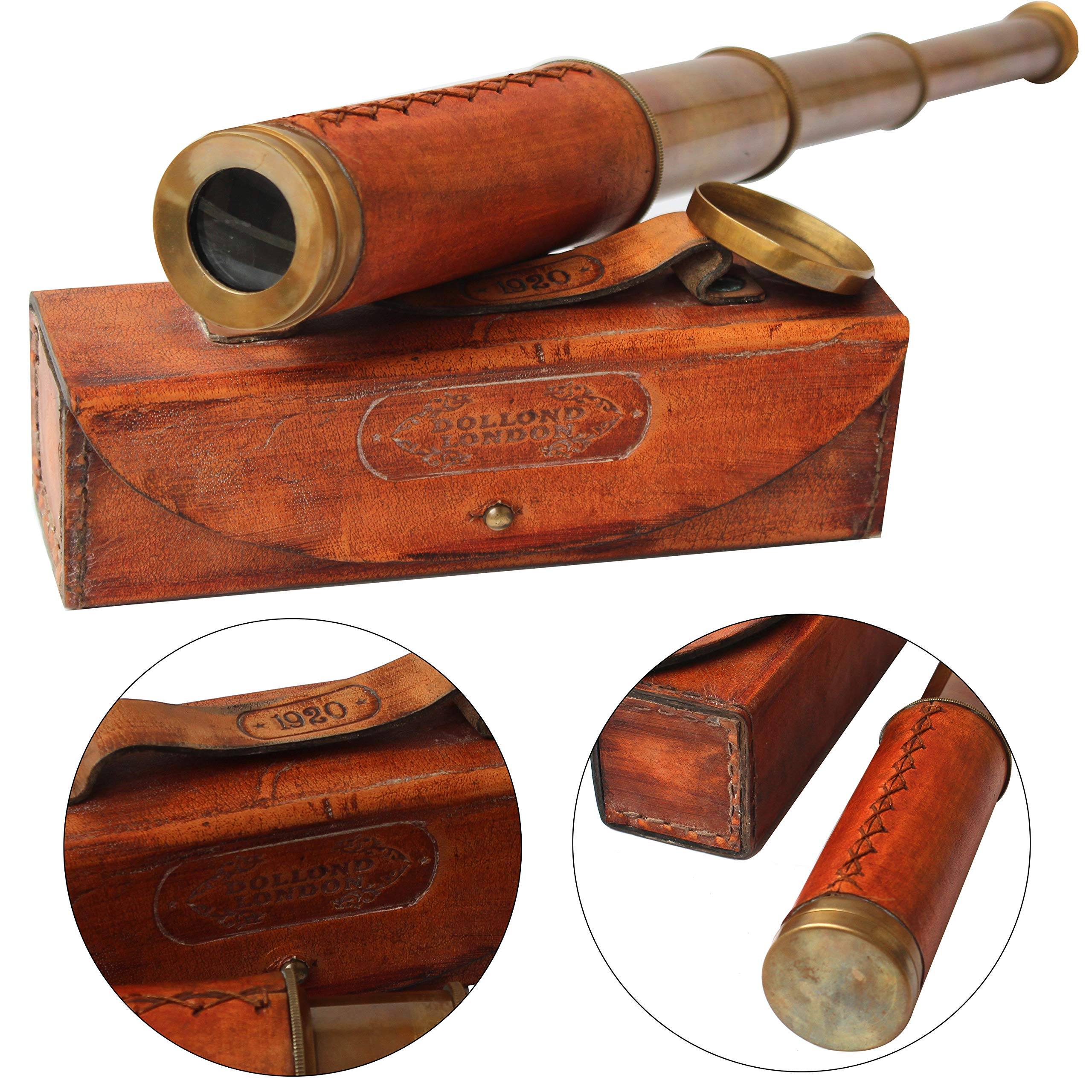 Orange Leather Marine Box Telescope Dollond London 1920 Era Maritime Vintage Functional Spyglass Sailor Instrument - Handmade Gifts Article by Collectibles Buy