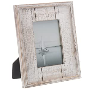 """Barnyard Designs Rustic Distressed Picture Frame 5"""" x 7"""" Wood Photo Frame in White"""