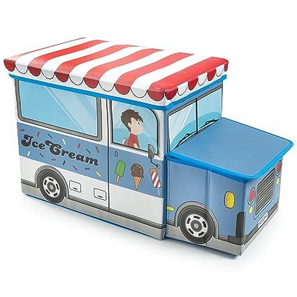 Caja de almacenamiento de juguetes para niños con diseño de camión, ideal para guardar libros