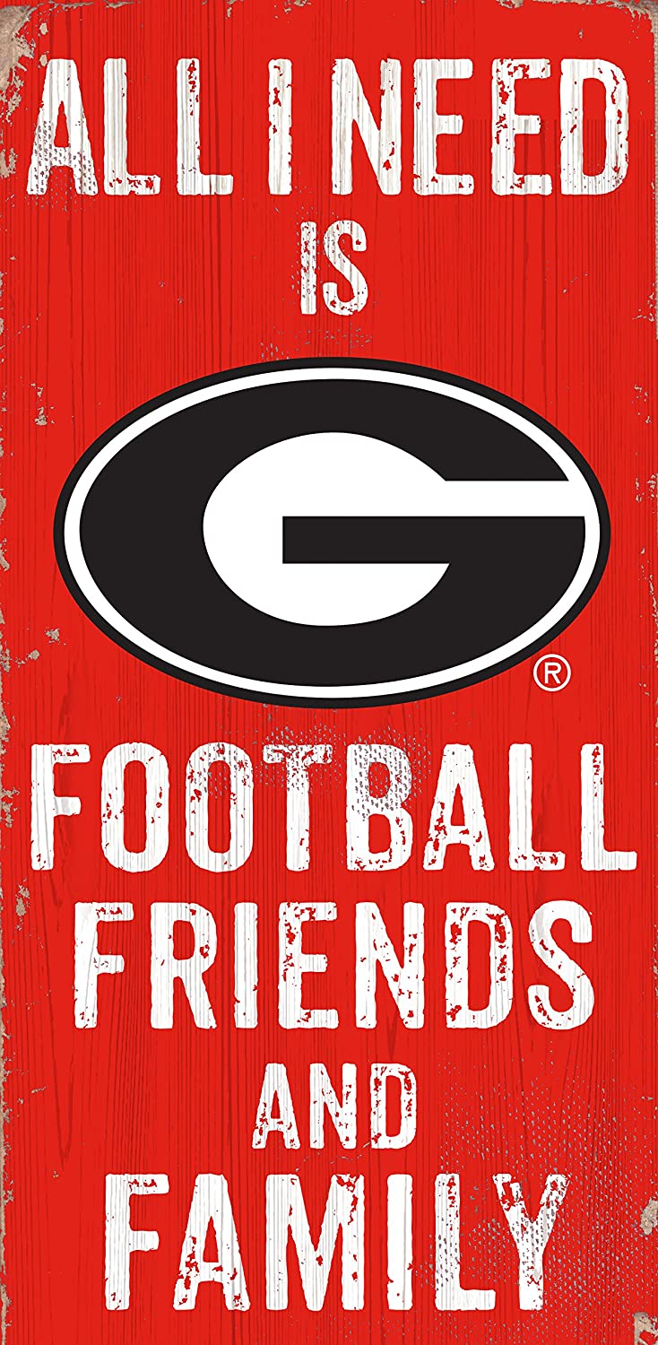 "Fan Creations NCAA Georgia Bulldogs 6"" x 12"" All I Need is Football, Friends, and Family Wood Sign"