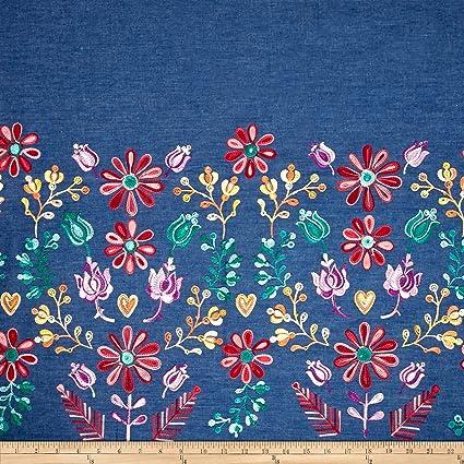 98a29869a018b Amazon.com  TELIO Denim Embroidered Single Border Floral Yellow Red ...
