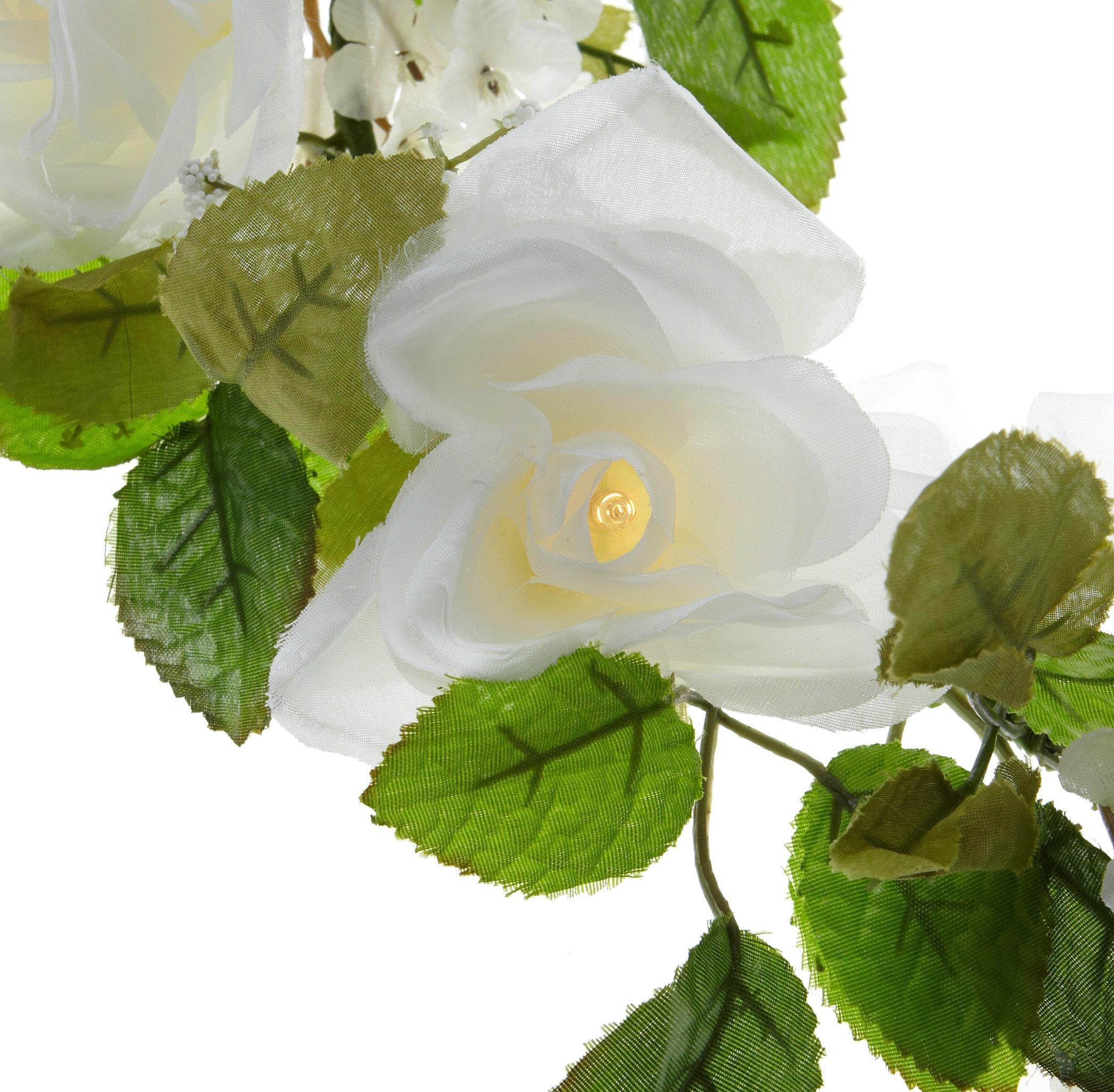 Wilton Lighted White Rose Garland