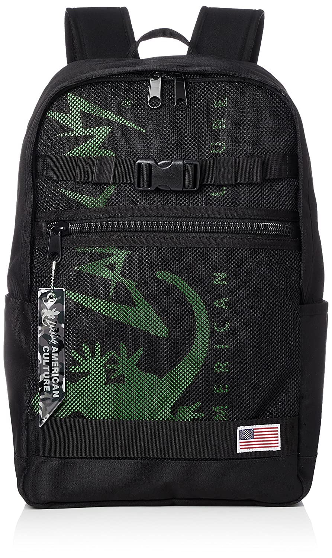 [ラーキンス]ラウンドバックパック LKLA-01 メッシュポケット B07B4QWZVK ブラック/ライムグリーン ブラック/ライムグリーン