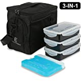 EDC Meal Prep Bag by Evolutionize - Full Meal Management System includes Portion Control Meal Prep Containers + Ice Pack (3 Meal, Black/Black) - Patent Pending