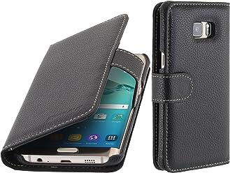 StilGut Talis, Housse Porte-Cartes en Cuir pour Samsung Galaxy S6 Edge+, en Noir