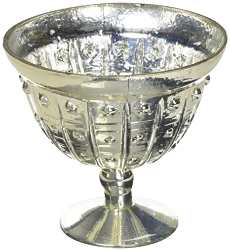 Amazon Baleri Mercury Glass Vase Compote Bowl In Silver Gold5