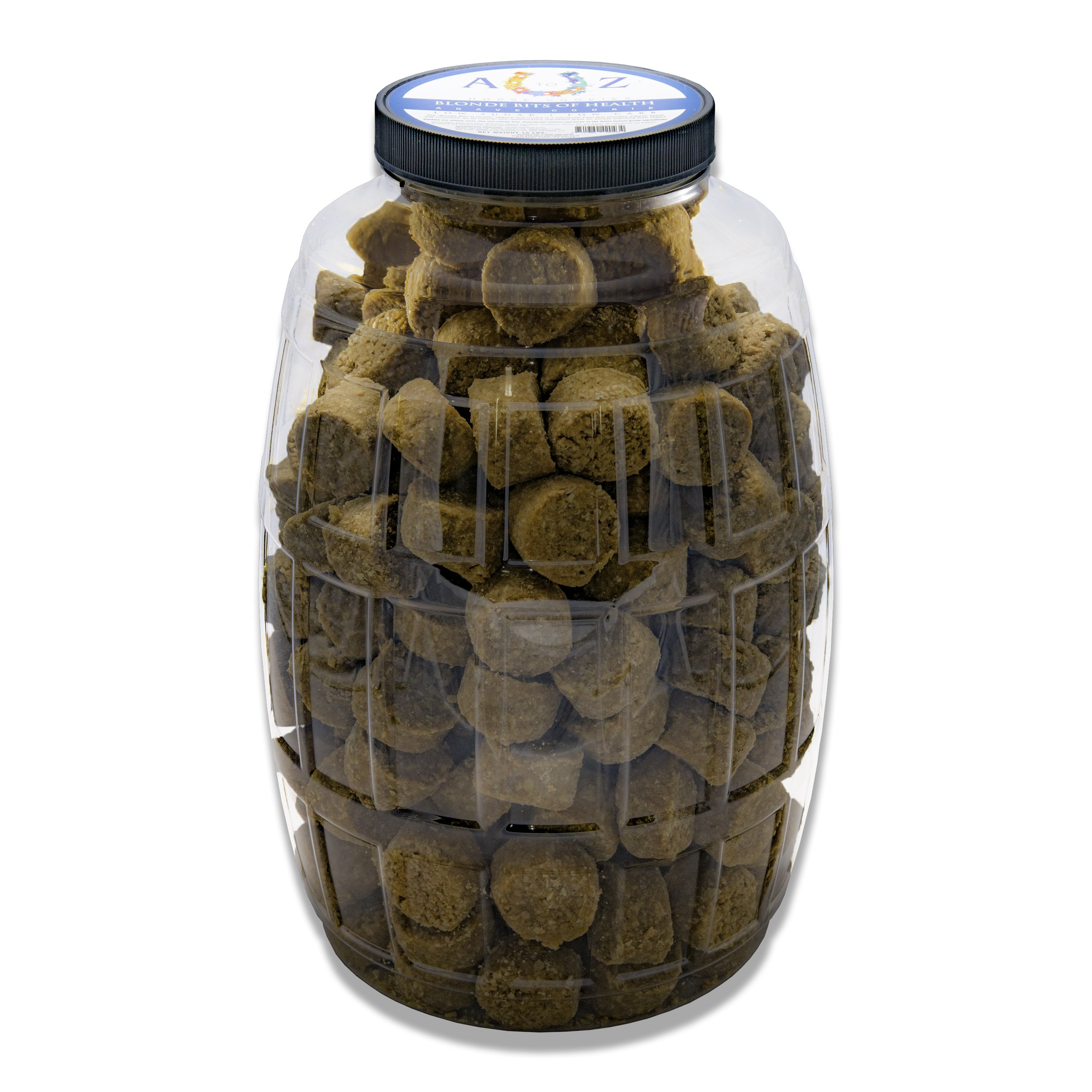 Horse Cookie Treat: Blond Bits Of Health Flavor by A - Z Horse Cookies, Low Carb Low Sugar Softer Treats, Organic, Great For All Horses And Excellent For Those With Metabolic Conditions, 15 lbs Jar