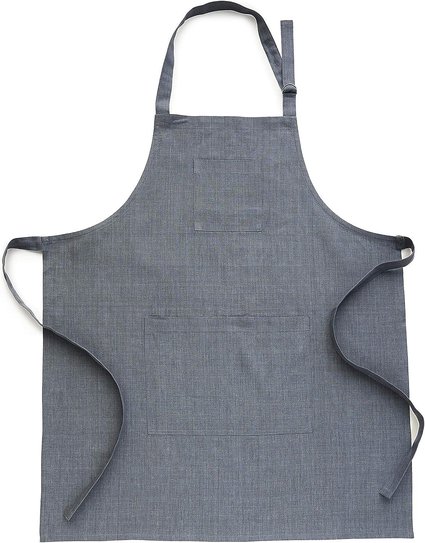 Solino Home Linen Kitchen Apron - Men & Women 100% Pure Linen Bib Apron - Adjustable Straps with Pockets - European Flax, Grey