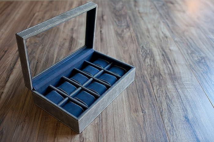 Amazon Com Personalized Gray Watch Box Contrasting Dark Blue Soft