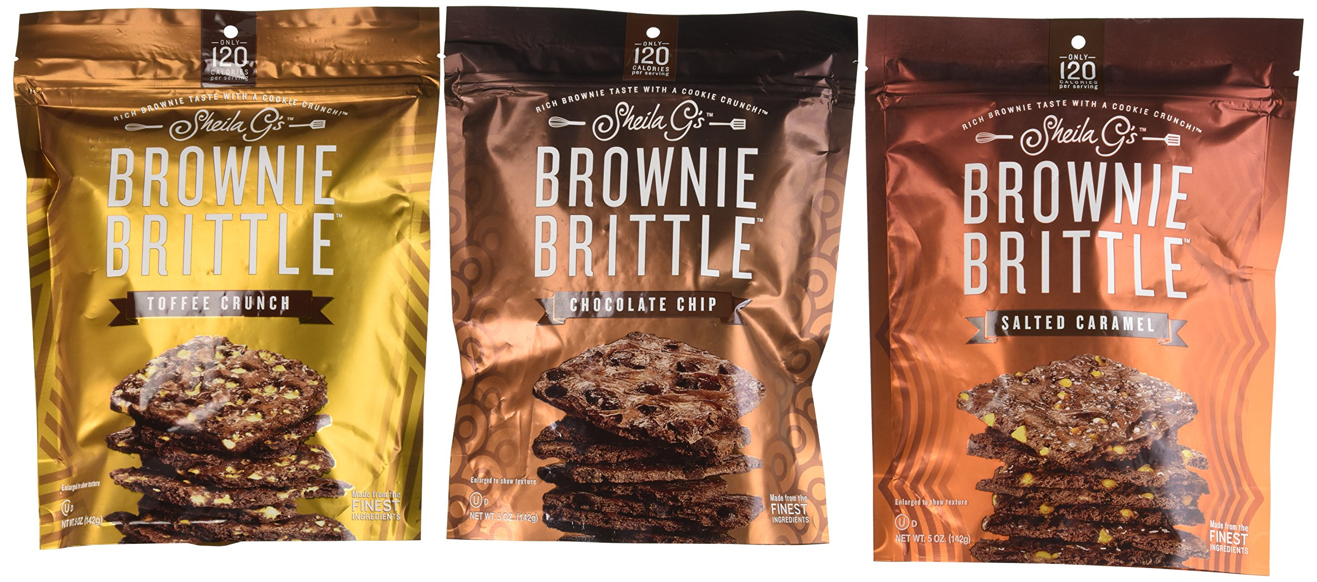 Sheila G's Brownie Brittle 3 Flavor Variety Bundle: (1) Sheila G's Salted Caramel Brownie Brittle, (1) Sheila G's Chocolate Chip Brownie Brittle, and (1) Sheila G's Toffee Crunch Brownie Brittle, 5 Oz. Ea. (3 Bags Total)