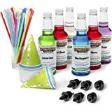 Hawaiian Shaved Ice 6 Flavor Fun Pack | Includes 6 Snow Cone Syrups [16oz Each] – Cherry, Grape, Blue Raspberry, Tiger's Blood, Lemon-Lime, & Pina Colada, 50 Snow Cone Cups, 50 Spoon Straws, 6 Pourers