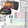 Bungee Cord Moving Straps by Wellmax | Durable Rubber, Elastic Straps with Hooks | Plastic Coated Metal Hooks Attachable to Kayak, Boat, Luggage | 24pc Set with BONUS Cargo Net Cover and Canopy Ties