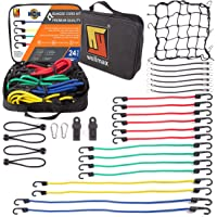 Wellmax Bungee Cords Hook Assortment Bag, 28pc Set with Bonus Cargo Net Cover and Canopy Ties Attached with Plastic Coated Metal Hooks
