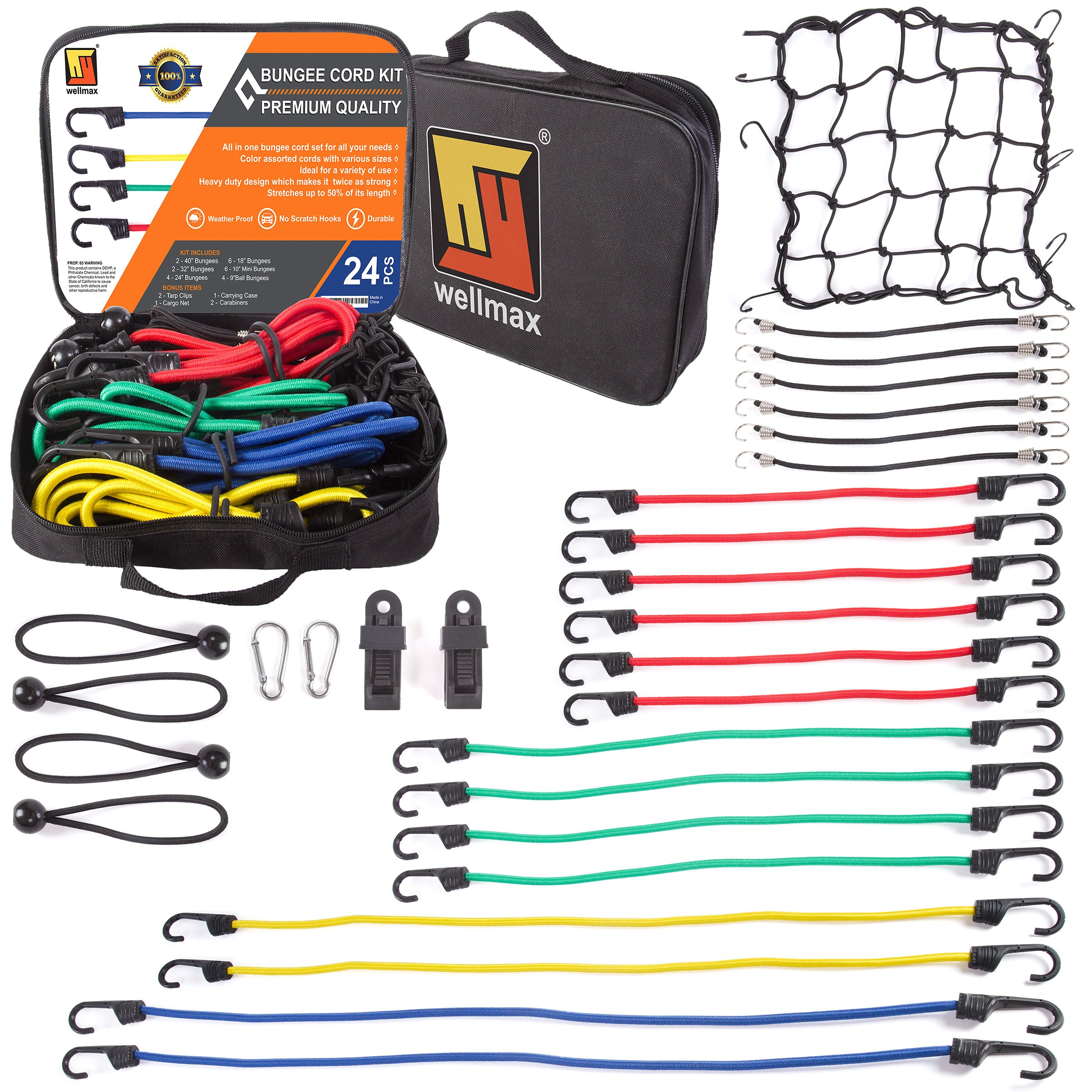 Wellmax Bungee Cords Hook Assortment Bag, 28pc Set with Bonus Cargo Net Cover and Canopy Ties Attached with Plastic Coated Metal Hooks by Wellmax
