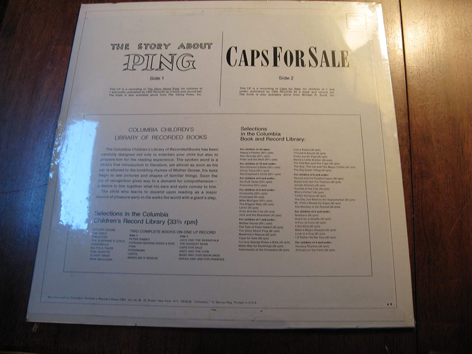 Amazon.com : Caps for Sale / The story of Ping - Columbia Childrens Library of Recorded Books (Vinyl 33 1/3 RPM) : Other Products : Everything Else