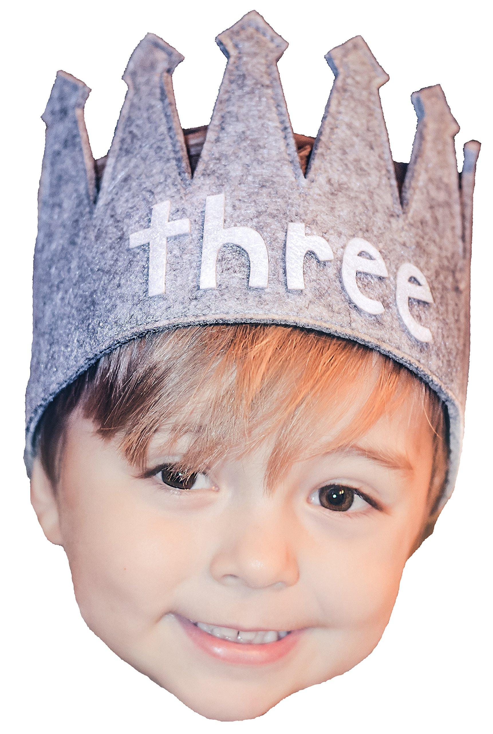 Toddler Third ''three'' Crown Birthday Gray White Party I am 3 B-Day Hat Girl Boy