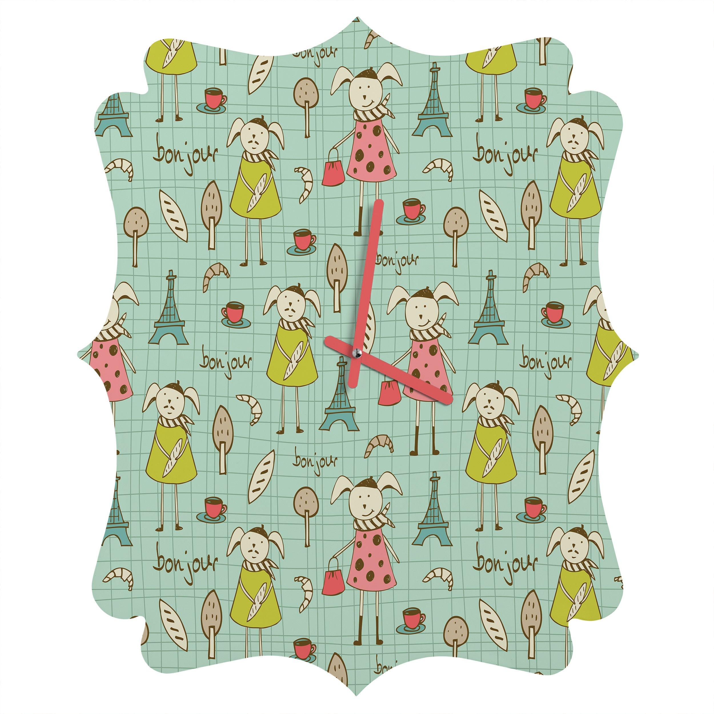Deny Designs Heather Dutton, Bonjour Lapin, Quatrefoil Clock, Medium