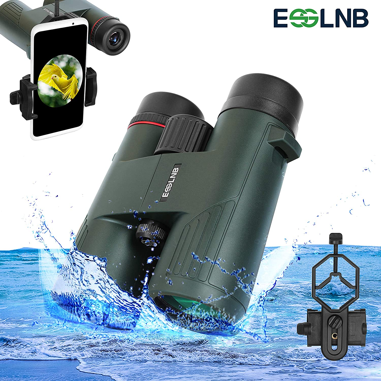 ESSLNB Binoculars for Bird Watching 10X42 IPX7 Waterproof BAK4 Binoculars for Adults Kids with Phone Adapter