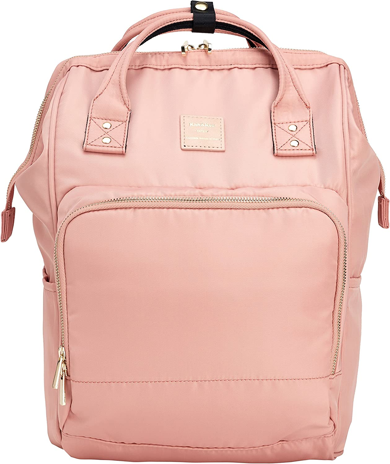Kah&Kee Nylon Backpack Diaper Bag with Laptop Compartment Waterproof Work Travel School for Women Man (Nude Pink)