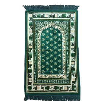 Muslimclothing Tapis De Priere Vert Fonce Et Jaune Motif Fleur Arch